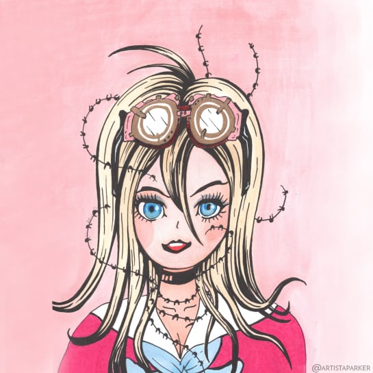 Barbed Wire Miu drawn by hand with a goth glow-up.